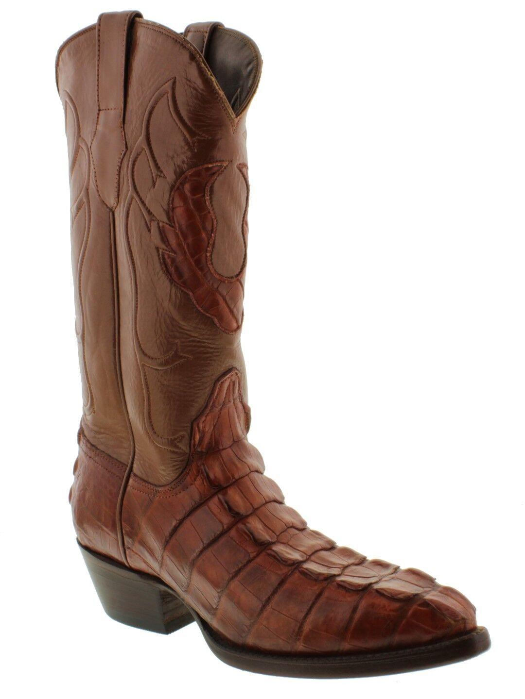 Mens Cognac Genuine Alligator Skin Tail Cut Cowboy Boots J Toe