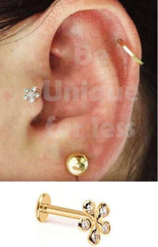 VouJou FlatBack Flower Tragus Helix Cartilage Ear Ring Piercing Body Labret Stud