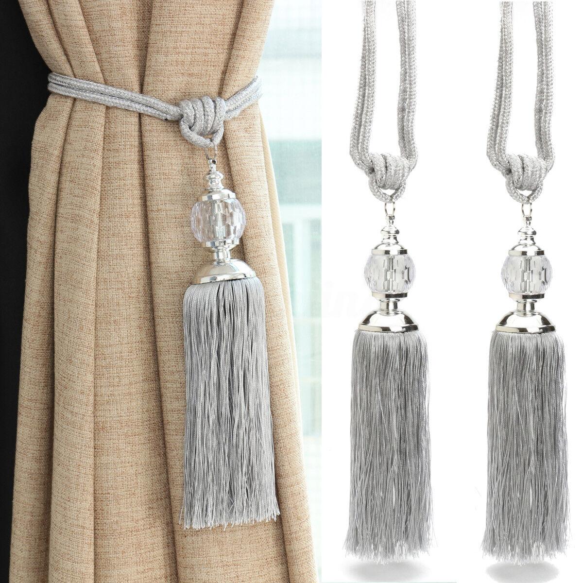 Pair Of Curtain Holdbacks Rope Tie Backs Tassel Tiebacks Crystal Pearl Ball Home Ebay