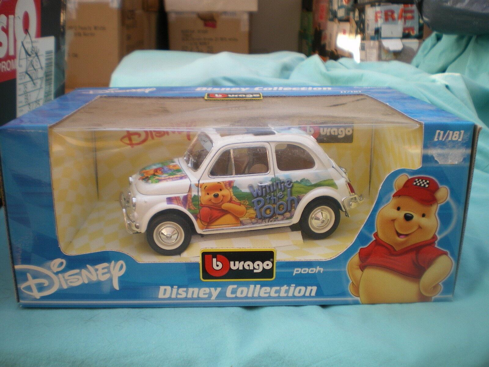 1 18 Fiat 500 500 500 Winnie the Pooh l'Ourson Burago 2016 Neuf Boite MiB OVP c740ea