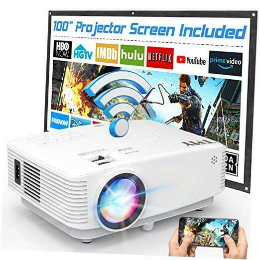 WiFi Projector with 100 Screen 180 ANSI Brightness Over 7500 Lumens