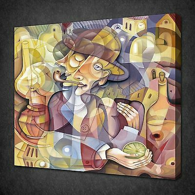 CUBISM MAN PORTRAIT MODERN DESIGN CANVAS WALL ART PICTURE PRINT READY TO HANG