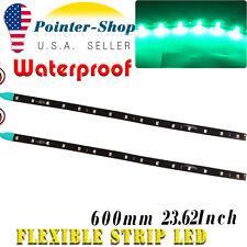 """2x Green 24""""/30LED Car Motor Boat DIY Decor Strip Underbody Light Waterproof 12V"""