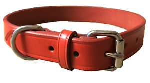 NEW-HAND-CRAFTED-RED-SOFT-LEATHER-DOG-COLLAR-TRAINING-STRONG-MEDIUM