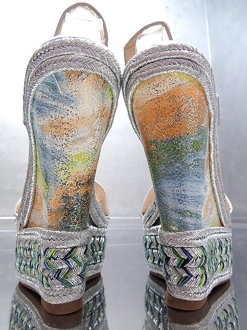 Senza tasse ALTA WEDGE PUMPS originale lusso lusso lusso argento plateau sandali da donna p83 tacco alto 38  miglior prezzo
