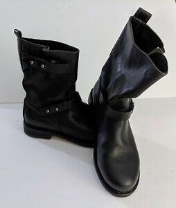 Rag-amp-Bone-Womens-Black-Leather-Moto-Boots-Size-EU-37-5-US-7-5