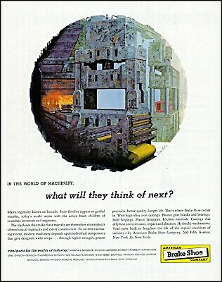 Precise 1958 World Of Machinery American Brake Shoe Furnace Vintage Art Print Ad Adl79 Skilful Manufacture Advertising