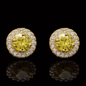 14K-Yellow-Gold-1Ct-Round-Simulated-Diamond-Citrine-Halo-Stud-Earrings