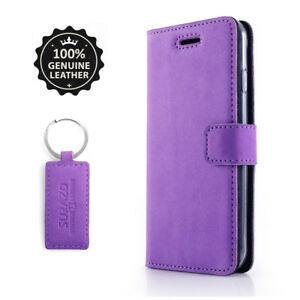 SURAZO-Echtes-Leder-Huelle-Tasche-Flip-Wallet-Case-Cover-Etui-fuer-Handy-Violett