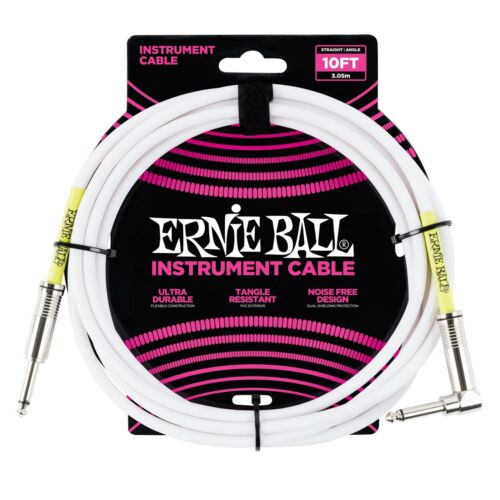 Ernie Ball 10ft White Instrument Guitar Cable Lead Straight//Angled Jacks