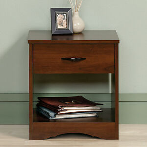Cherry One Drawer Nightstand Home Living Bedroom Storage Accent Furniture