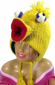 Hand Knitted 100/% Wool Winter Beanie Hat with Cartoon Birds Characters