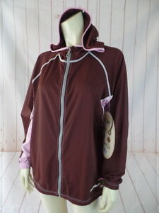 Green-Beanz-Hoodie-Jacket-L-XL-Brown-Lavender-Poly-Spandex-Stretch-Recycled-New