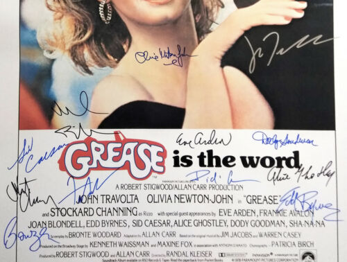 GREASE MOVIE Poster Signed by 15 cast members Excellent condition replica
