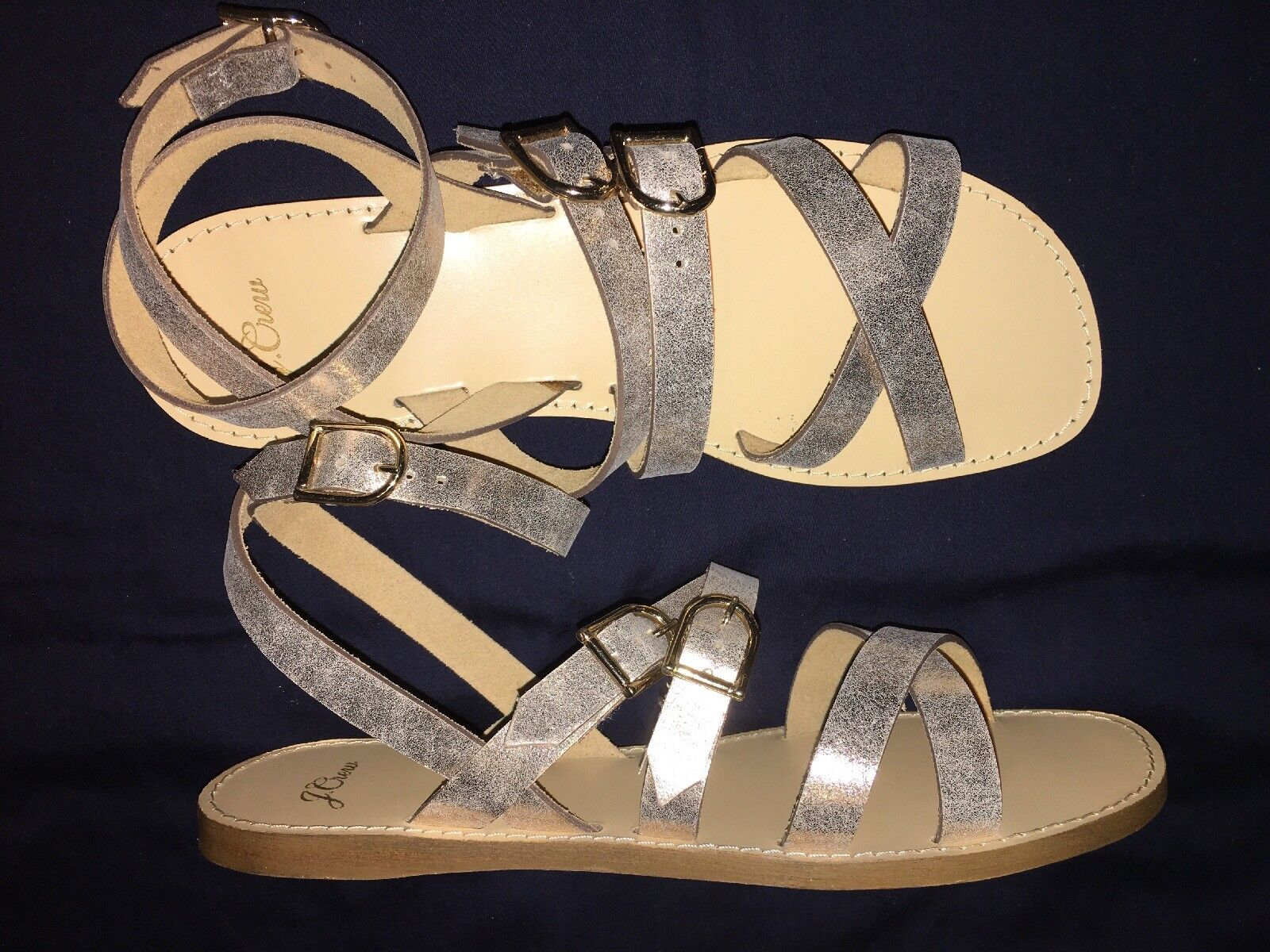 J Crew Sandals 10.5 Aria Sandal j8201 Pale gold  128 NEW Metallic Leather