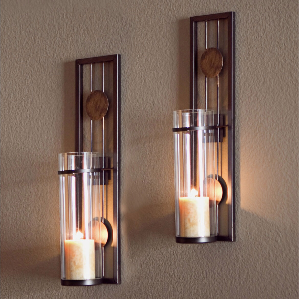 Glass Metal Wall Mounted Sconces 2 Pillar Candle Holders