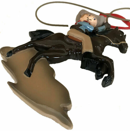 Cute Cowboy Child on Horse Vintage Style Christmas Ornament Easter or Birthday
