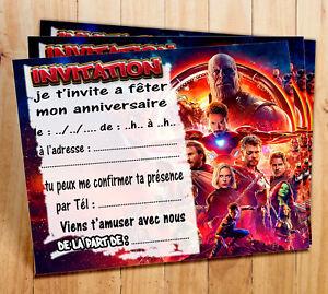 Cartes Invitation Anniversaire Avengers Par 5 12 Ou 16 Ebay