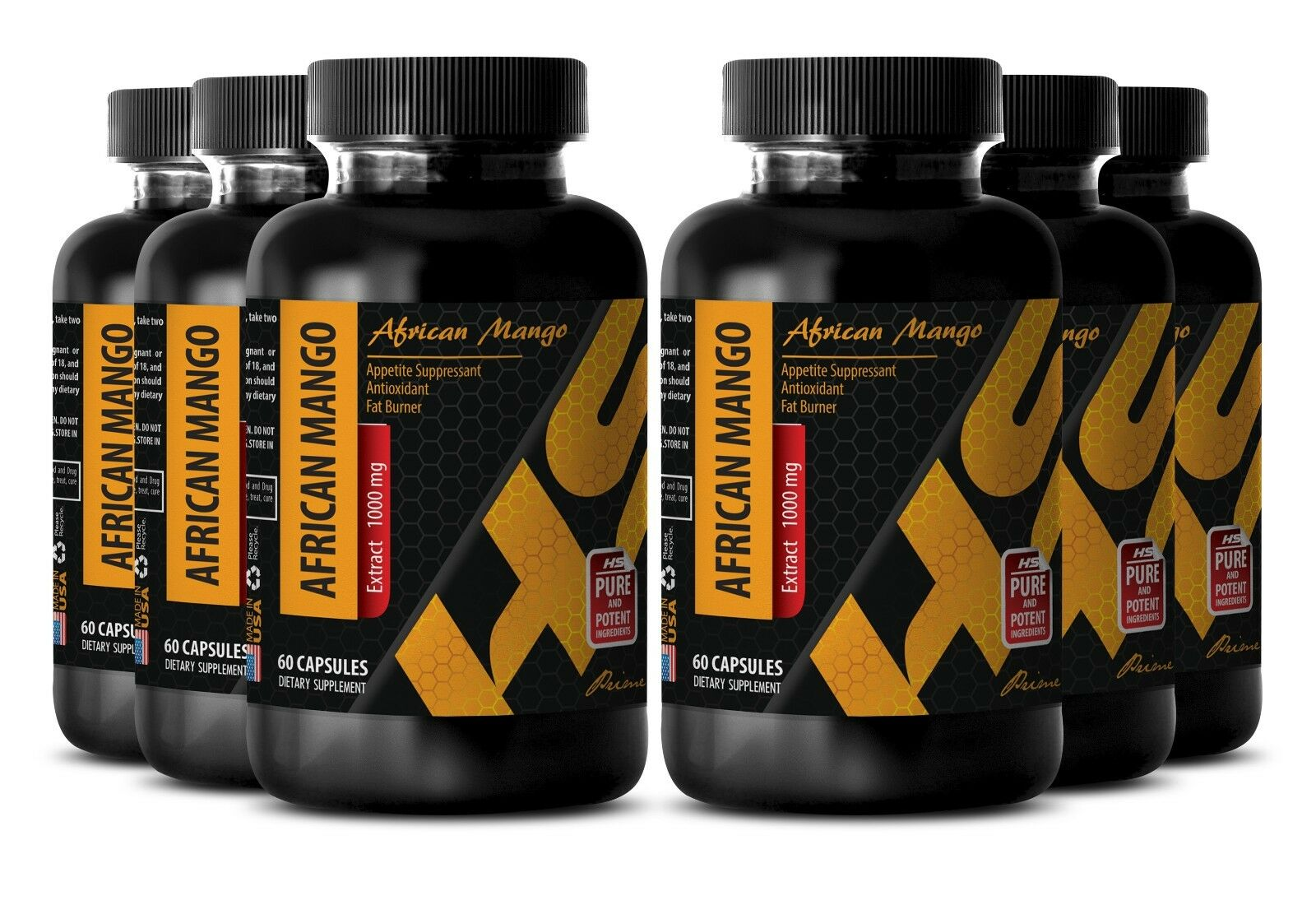 Herbal weight loss - PURE AFRICAN MANGO EXTRACT 1000mg 6 Bottles 360 Capsules