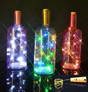 20-LED-Sughero-Bottiglia-Vino-Birra-Lucine-oro-filo-caldo-freddo-bianco-multi-colore