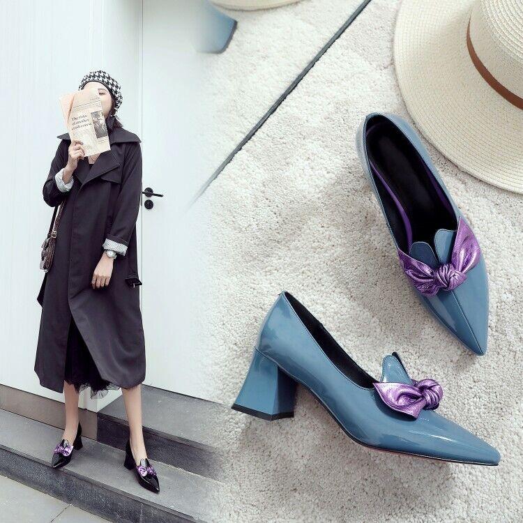 Women Ladies Fashion Patent Leather Bow Knot Block Heel Court shoes Pumps SKG