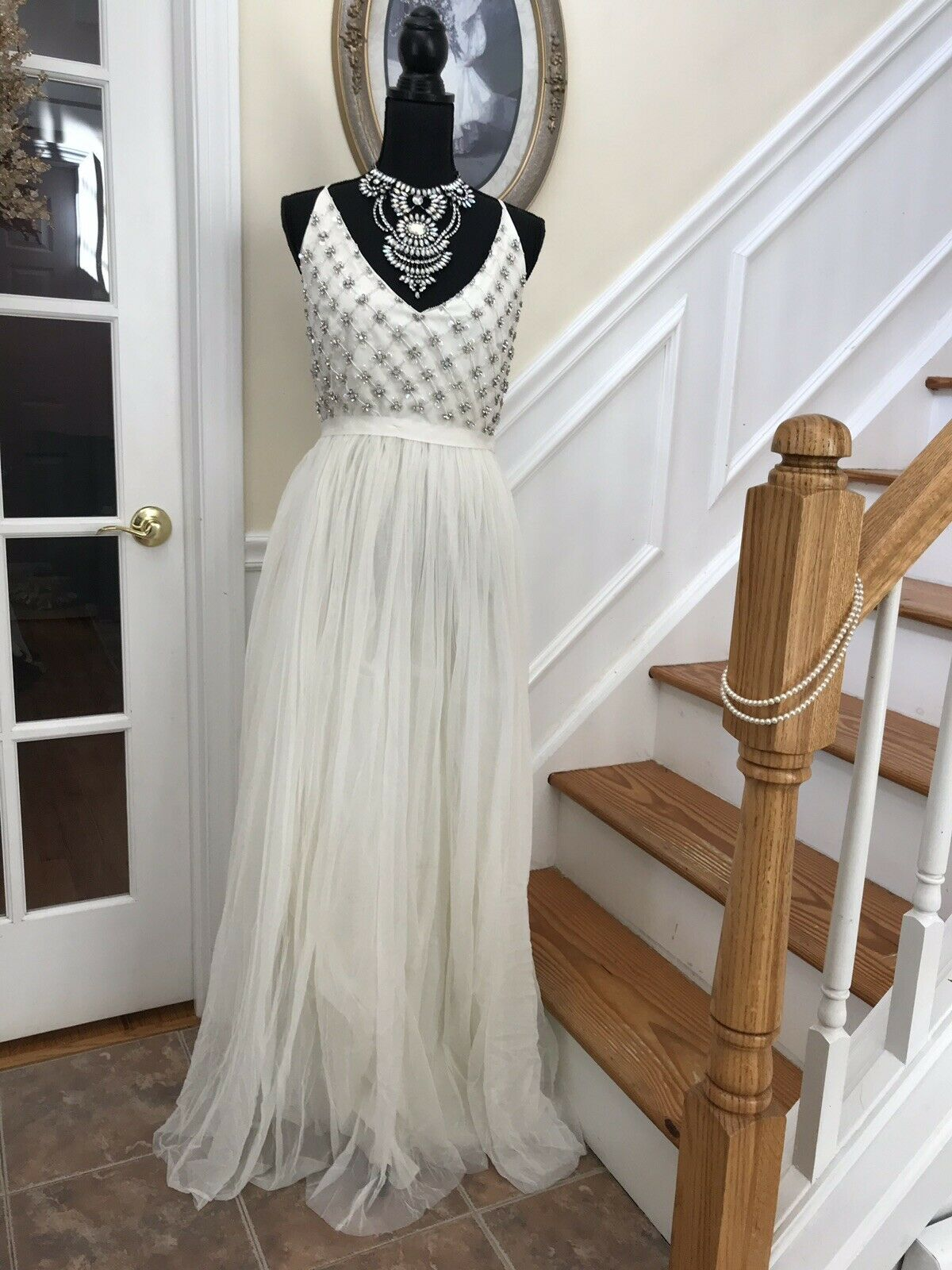 So beautiful  NWT Ivory & Sequin Plus Größe 18 floor length gown Prom Dress