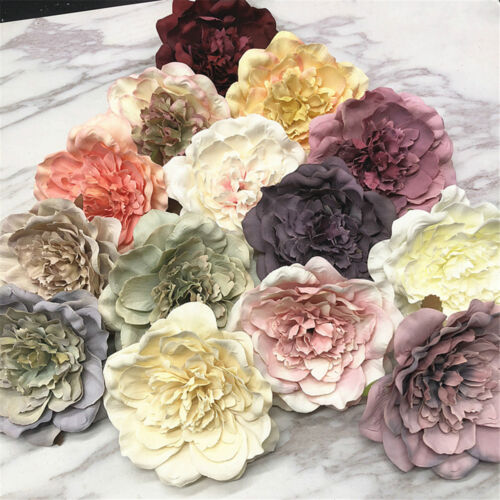5Pcs Artificial Peony Silk Flower Leaf Heads Home Wedding Party Decoration