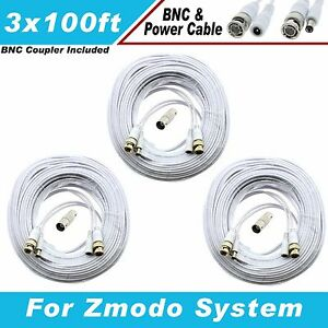 WHITE PREMIUM 300Ft CCTV SURVEILLANCE BNC EXTENSION CABLES FOR Q-SEE SYSTEMS