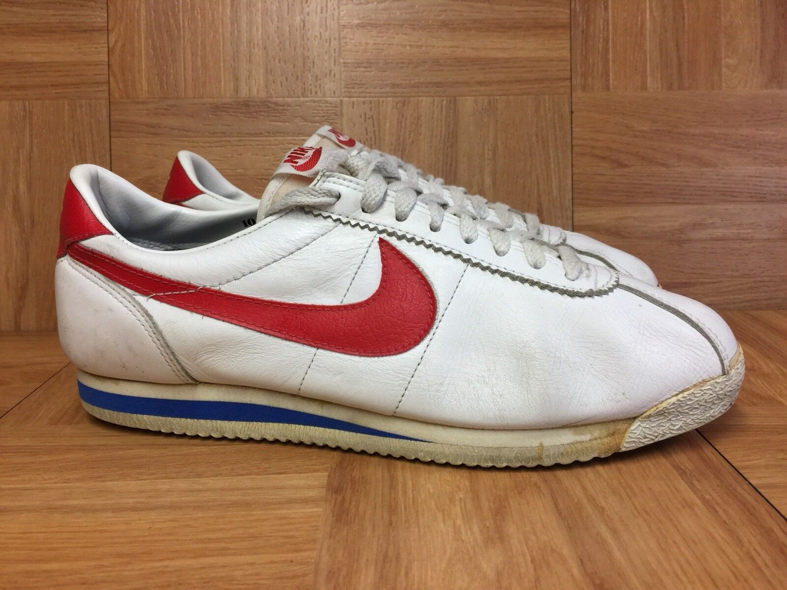 watch 08952 93307 Vintage🔥 Nike Cortez Forest Gump Size 10 White Leather Blue Red Original  1985