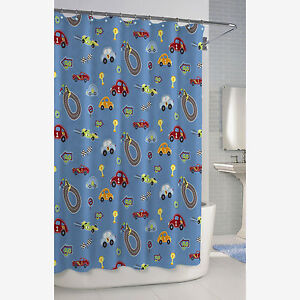 Image Is Loading BAMBINI RACE TRACK CAR SHOWER CURTAIN