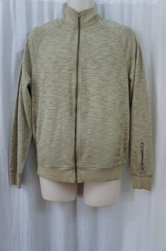 Kenneth Cole New York  Herren Sweater Sz L Sandcastle Beige Full Zip Casual Sweater