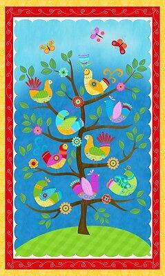 "24/"" Fabric Panel Studio E Flight of Fancy Bird Garden Tree Wallhanging"