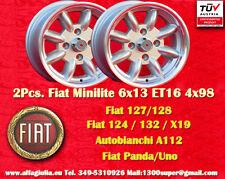 2 Cerchi FIAT Minilite 6x13 ET16 4x98 Wheels Felgen Llantas Jantes TUV