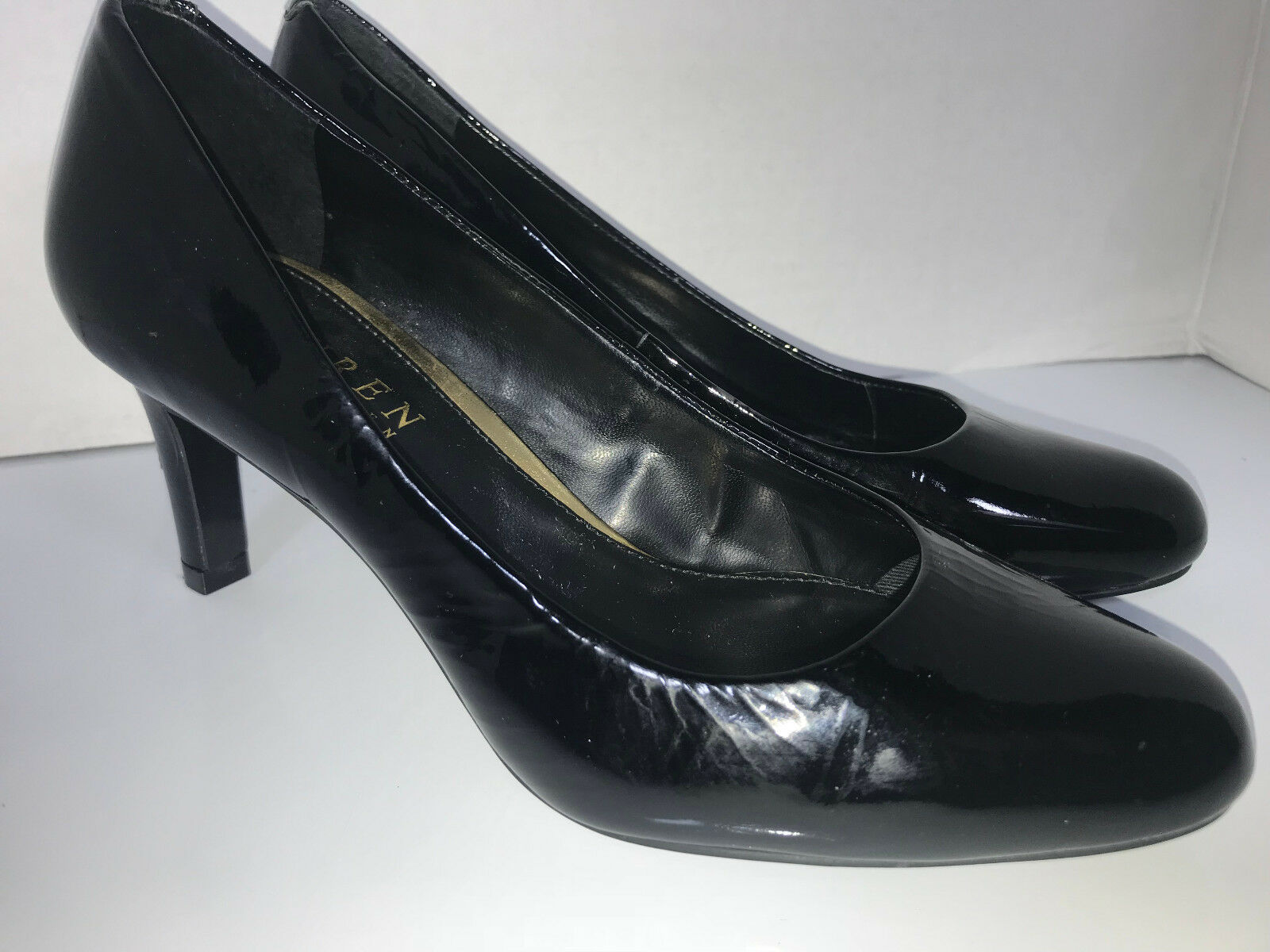 Lauren by Ralph Size 5 Black Patent Leather HARPER Stiletto High Heels 2.75