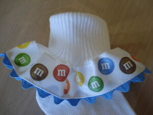 MTM M & M's Inspired Candy Ric Rac Ruffle Socks Infant Toddler Girl Tea Pageant