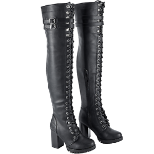 07ff8b56211 Womens Leather Combat Boots Lace Up Knee High Motorcycle Milwaukee ...