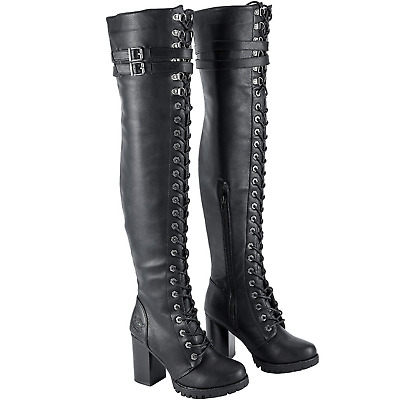 Milwaukee Leather Womens Tall Boots with Lacing Black, Size 8.5
