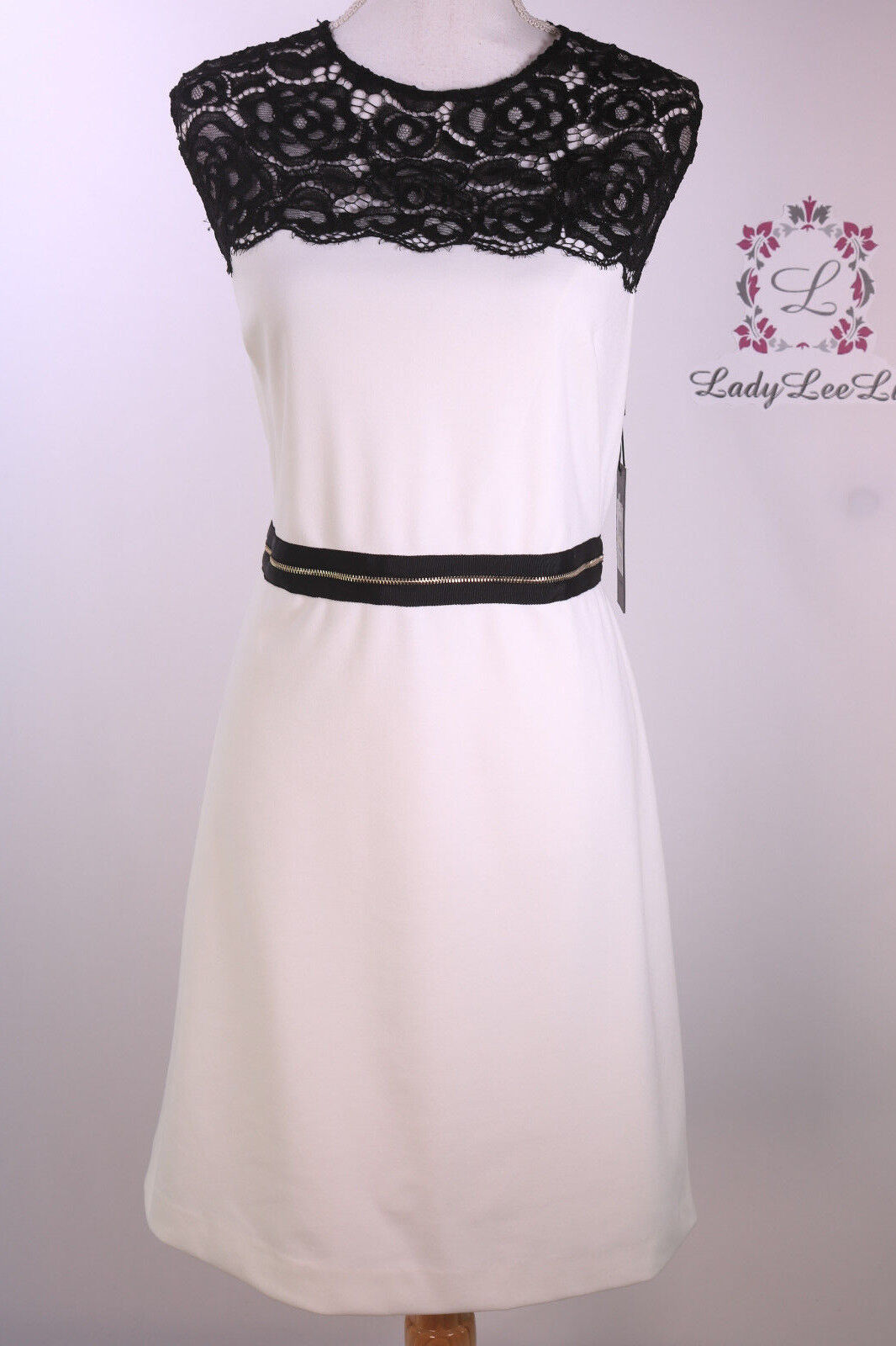 Karl Lagerfeld Paris Ponte Dress with Lace Sleeve Detail LD6P1595 Size 8 14 NWT