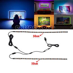 2x RGB TV Backlight LED STRIP USB Colour Changing Lighting Kit