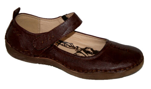 Ladies Comfort Mary Jane Ballerina with Hook and Loop Fasten Brown Sizes 3 x 7