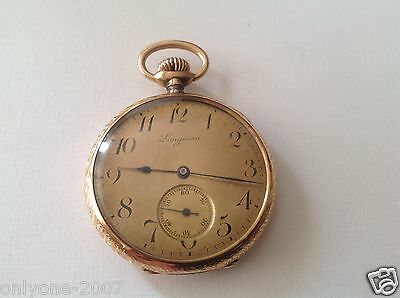 "Watches, Parts & Accessories Antique ""longines"" Engraved Pocket Watche 18k Gold Geneve Xix Century!"