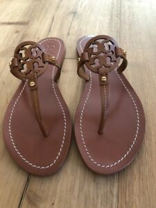 f8fef615f NWB Tory Burch Mini Miller Veg Leather Thong Sandals Royal Tan Size ...
