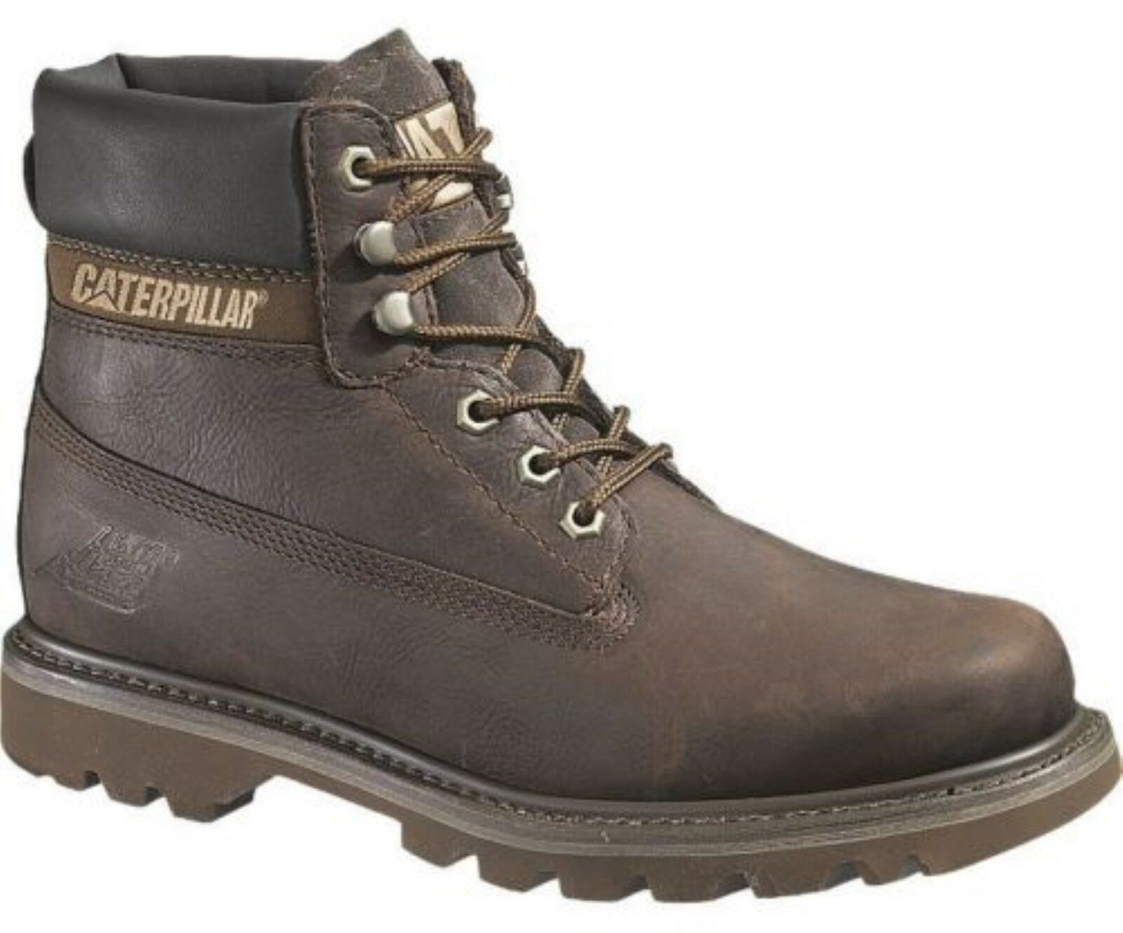 Caterpillar Coloreado da Uomo in Pelle Marrone Cioccolato Alto Alto Alto Stivaletti Stringati 80245f