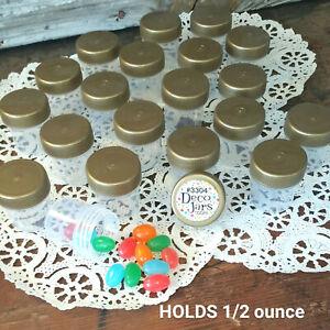 12 Tiny Pill Bottles Plastic JARS Gold Lids Caps .50 OZ Travel 3304 DecoJars USA