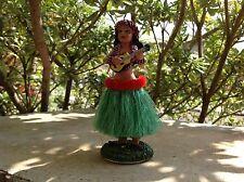 Hawaiian Dashboard Hula Doll Dancer Girl Posing Green # 40606