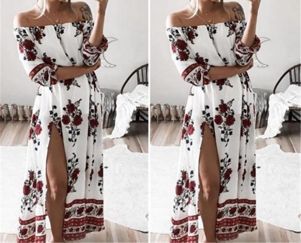 Women-Summer-Boho-Floral-Off-Shoulder-Beach-Evening-Cocktail-Long-Maxi-Dress