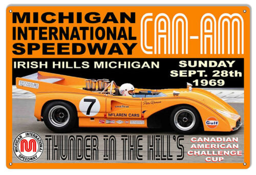 CAN-AM Thunder In The Hills Motor Speedway Reproduction Sign 12x18
