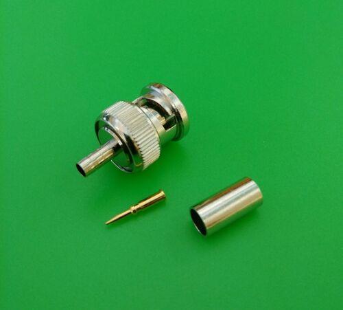 2 SETS BNC Male 3-PC Crimp RG58//U Thinnet Teflon Connectors