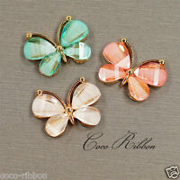 Gold Alloy Resin Crystal Butterfly Flatback Cabochon Phone Case Deco Lot 624pcs