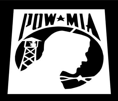 POW MIA sticker prisoner of war before guard tower missing action